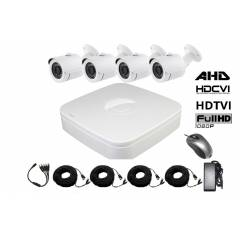 Kit supraveghere exterior 5 in 1 cu 4 camere FULL HD 2.1Mpx 1080p Low Illumination AHD, HD-CVI, HD-TVI