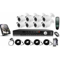 Kit supraveghere exterior 5 in 1 cu 8 camere FULL HD 2.1Mpx 1080p AHD Low Illumination, HD-CVI, HD-TVI