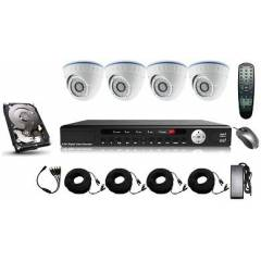 Kit supraveghere interior 5in 1 cu 4 camere dome FULL HD 2.1Mpx 1080p AHD Low Illumination, HD-CVI, HD-TVI
