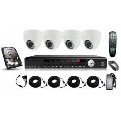Kit supraveghere interior 5 in 1 cu 4 camere dome FULL HD 2.1Mpx 1080p AHD Low Illumination, HD-CVI, HD-TVI