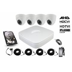 Kit supraveghere interior 5 in 1 cu 4 camere dome FULL HD 2.1Mpx 1080P Low Illumination AHD, HD-CVI, HD-TVI