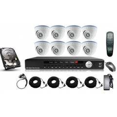 Kit supraveghere interior 5 in 1 cu 8 camere dome FULL HD 2.1Mpx 1080p AHD Low Illumination, HD-CVI, HD-TVI